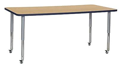 "ECR4Kids 36"" x 72"" Rectangular Contour Activity Table Oak/Navy/Silver Super Leg (14713-OKNVSVSL)"
