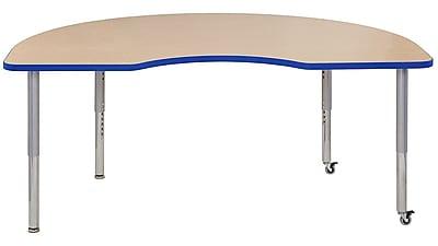 """ECR4Kids 24""""W x 36""""L Rectangular Contour Activity Table Maple/Blue/Silver Super Legs (14706-MPBLSVSL)"""
