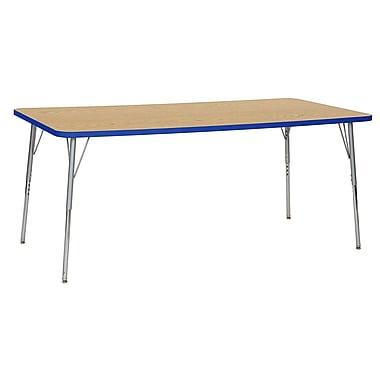 """ECR4Kids 36"""" x 72"""" Rectangular Contour Activity Table Oak/Blue/Silver Standard Leg (14713-OKBLSVSS)"""