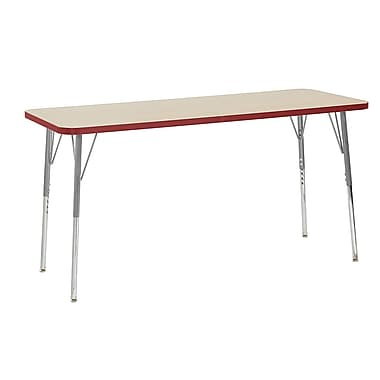 "ECR4Kids 24"" x 60"" Rectangular Contour Activity Table Maple/Red/Silver Standard Leg (14708-MPRDSVSS)"