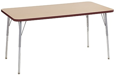 "ECR4Kids 30"" x 60"" Rectangular Contour Activity Table Maple/Burgundy/Silver Standard Leg (14711-MPBYSVSS)"