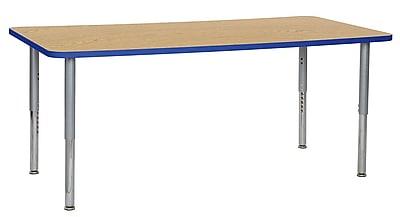 "ECR4Kids 36"" x 72"" Rectangular Contour Activity Table Oak/Blue/Silver Super Leg (14713-OKBLSVSL)"