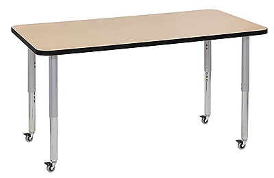 "ECR4Kids 30"" x 60"" Rectangular Contour Activity Table Maple/Black/Silver Super Leg (14711-MPBKSVSL)"