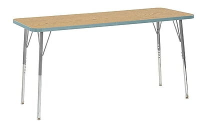 "ECR4Kids 24"" x 60"" Rectangular Contour Activity Table Oak/Seafoam/Silver Standard Leg (14708-OKSFSVSS)"