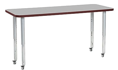 "ECR4Kids 24"" x 60"" Rectangular Contour Activity Table Grey/Burgundy/Silver Super Leg (14708-GYBYSVSL)"