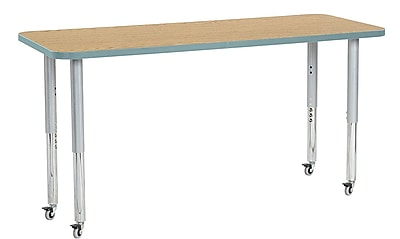 "ECR4Kids 24"" x 60"" Rectangular Contour Activity Table Oak/Seafoam/Silver Super Leg (14708-OKSFSVSL)"