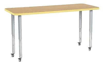 """ECR4Kids 24"""" x 60"""" Rectangular Contour Activity Table Oak/Squash/Silver Super Leg (14708-OKSQSVSL)"""