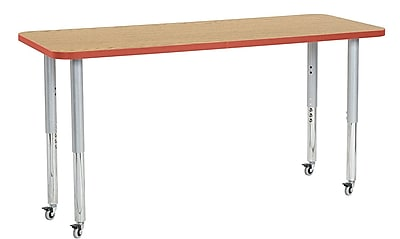 "ECR4Kids 24"" x 60"" Rectangular Contour Activity Table Oak/Tangerine/Silver Super Leg (14708-OKTGSVSL)"