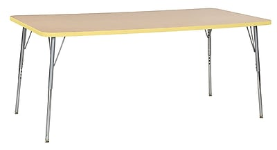 "ECR4Kids 36"" x 72"" Rectangular Contour Activity Table Maple/Squash/Silver Standard Leg (14713-MPSQSVSS)"