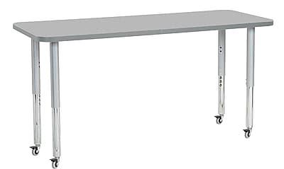 "ECR4Kids 24"" x 60"" Rectangular Contour Activity Table Grey/Light Grey/Silver Super Leg (14708-GYLGSVSL)"
