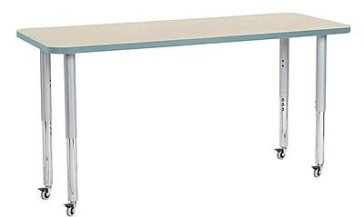 "ECR4Kids 24"" x 60"" Rectangular Contour Activity Table Maple/Seafoam/Silver Super Leg (14708-MPSFSVSL)"