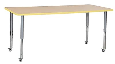 "ECR4Kids 36"" x 72"" Rectangular Contour Activity Table Maple/Squash/Silver Super Leg (14713-MPSQSVSL)"
