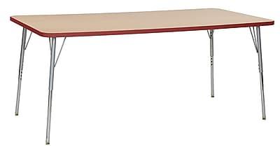 "ECR4Kids 36"" x 72"" Rectangular Contour Activity Table Maple/Red/Silver Standard Leg (14713-MPRDSVSS)"