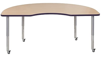 "ECR4Kids 24"" x 36"" Rectangular Contour Activity Table Maple/Eggplant/Silver Super Leg (14706-MPEPSVSL)"