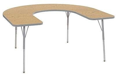 "ECR4Kids 60""x66"" Horseshoe Contour Activity Table Oak/Light Grey/Silver Standard Leg (14703-OKLGSVSS)"