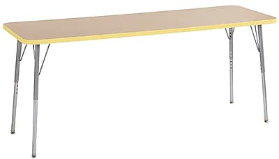 "ECR4Kids 24"" x 72"" Rectangular Contour Activity Table Maple/Squash/Silver Standard Leg (14709-MPSQSVSS)"