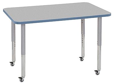 "ECR4Kids 30"" x 48"" Rectangular Contour Activity Table Grey/Powder Blue/Silver Super Leg (14710-GYPBSVSL)"