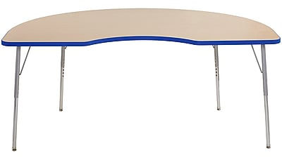 "ECR4Kids 24"" x 36"" Rectangular Contour Activity Table Maple/Blue/Silver Standard Leg (14706-MPBLSVSS)"