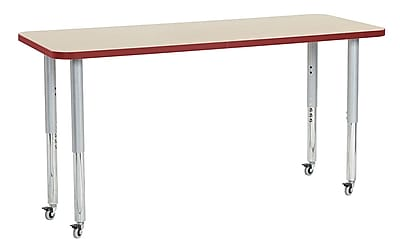 "ECR4Kids 24"" x 60"" Rectangular Contour Activity Table Maple/Red/Silver Super Leg (14708-MPRDSVSL)"