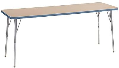 """ECR4Kids 24"""" x 72"""" Rectangular Contour Activity Table MP/Powder Blue/Silver Standard Leg (14709-MPPBSVSS)"""