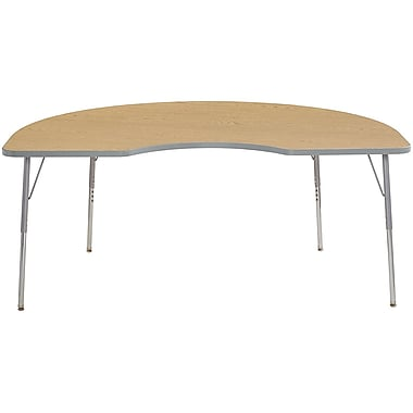 "ECR4Kids 24"" x 36"" Rectangular Contour Activity Table Oak/Light Grey/Silver Standard Leg (14706-OKLGSVSS)"