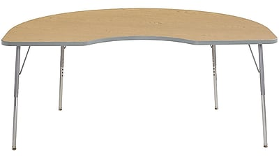 "ECR4Kids 24"" x 36"" Rectangular Contour Activity Table Oak/Light Grey/Silver Standard Leg (14706-OKLGSVSS)"