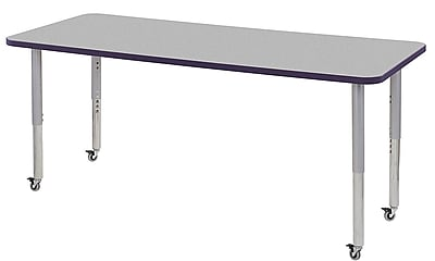 "ECR4Kids 30"" x 72"" Rectangular Contour Activity Table Grey/Eggplant/Silver Super Leg (14712-GYEPSVSL)"