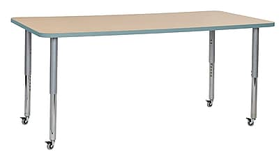 "ECR4Kids 36""W x 72""L Rectangular Contour Activity Table Maple/Seafoam/Silver Super Legs (14713-MPSFSVSL)"