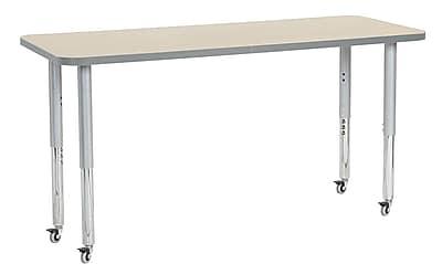 "ECR4Kids 24"" x 60"" Rectangular Contour Activity Table Maple/Light Grey/Silver Super Leg (14708-MPLGSVSL)"