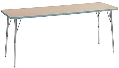 "ECR4Kids 24""W x 72""L Rectangular Contour Activity Table Maple/Seafoam/Silver Standard Legs (14709-MPSFSVSS)"