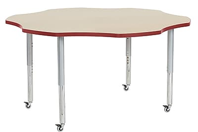 "ECR4Kids 60"" Flower Contour Activity Table Maple/Red/Silver Super Legs (14702-MPRDSVSL)"