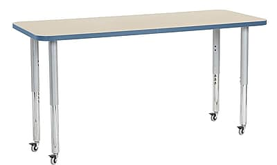 "ECR4Kids 24"" x 60"" Rectangular Contour Activity Table Maple/Powder Blue/Silver Super Leg (14708-MPPBSVSL)"