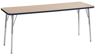 """ECR4Kids 24""""W x 72""""L Rectangular Contour Activity Table Maple/Navy/Silver Standard Legs (14709-MPNVSVSS)"""
