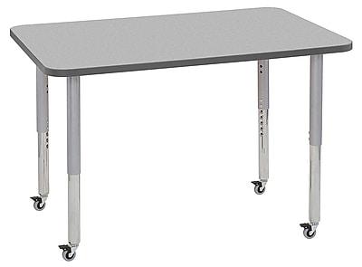 "ECR4Kids 30""x48"" Rectangular Contour Activity Table Grey/Grey/Silver Super Legs (14710-GYGYSVSL)"