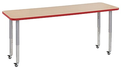 "ECR4Kids 24""W x 72""L Rectangular Contour Activity Table Maple/Red/Silver Super Legs (14709-MPRDSVSL)"