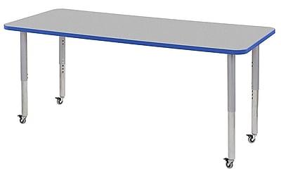 "ECR4Kids 30"" x 72"" Rectangular Contour Activity Table Grey/Blue/Silver Super Leg (14712-GYBLSVSL)"