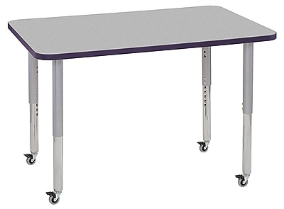 "ECR4Kids 30""x48"" Rectangular Contour Activity Table Grey/Eggplant/Silver Super Legs (14710-GYEPSVSL)"