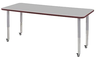 "ECR4Kids 30"" x 72"" Rectangular Contour Activity Table Grey/Burgundy/Silver Super Leg (14712-GYBYSVSL)"