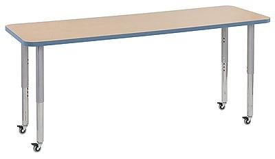"ECR4Kids 24""W x 72""L Rectangular Contour Activity Table Maple/Powder Blue/Silver Super Legs (14709-MPPBSVSL)"