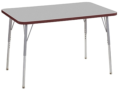 "ECR4Kids 30""x48"" Rectangular Contour Activity Table Grey/Burgundy/Silver Standard Legs (14710-GYBYSVSS)"