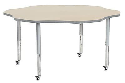 "ECR4Kids 60"" Flower Contour Activity Table Maple/Light Grey/Silver Super Legs (14702-MPLGSVSL)"