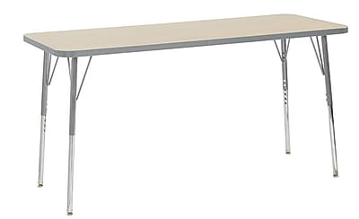 "ECR4Kids 24"" x 60"" Rectangular Contour Activity Table Maple/Light Grey/Silver Standard Leg (14708-MPLGSVSS)"