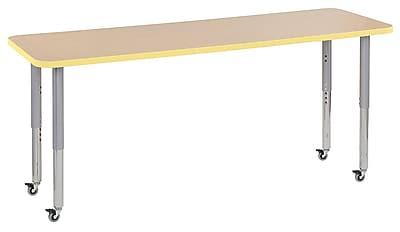 """ECR4Kids 24""""W x 72""""L Rectangular Contour Activity Table Maple/Squash/Silver Super Legs (14709-MPSQSVSL)"""
