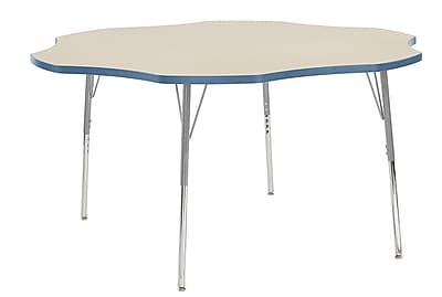 "ECR4Kids 60"" Flower Contour Activity Table Maple/Powder Blue/Silver Standard Legs (14702-MPPBSVSS)"