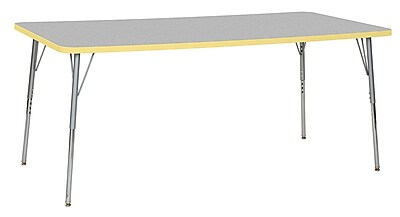 "ECR4Kids 36""W x 72""L Rectangular Contour Activity Table Grey/Squash/Silver Standard Legs (14713-GYSQSVSS)"
