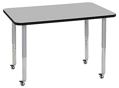 "ECR4Kids 30""x48"" Rectangular Contour Activity Table Grey/Black/Silver Super Legs (14710-GYBKSVSL)"