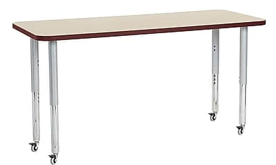 "ECR4Kids 24"" x 60"" Rectangular Contour Activity Table Maple/Burgundy/Silver Super Leg (14708-MPBYSVSL)"