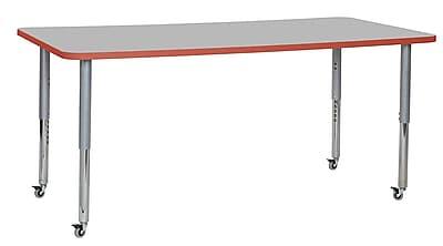 "ECR4Kids 36""W x 72""L Rectangular Contour Activity Table Grey/Tangerine/Silver Super Legs (14713-GYTGSVSL)"