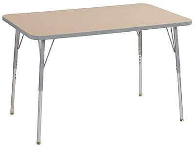 "ECR4Kids 30"" x 48"" Rectangular Contour Activity Table Maple/Light Grey/Silver Standard Leg (14710-MPLGSVSS)"