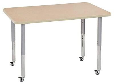"""ECR4Kids 30"""" x 48"""" Rectangular Contour Activity Table Maple/Maple/Silver Super Leg (14710-MPMPSVSL)"""